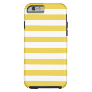 Yellow and White Stripe Pattern Tough iPhone 6 Case
