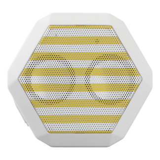 Yellow and White Stripe Pattern White Bluetooth Speaker