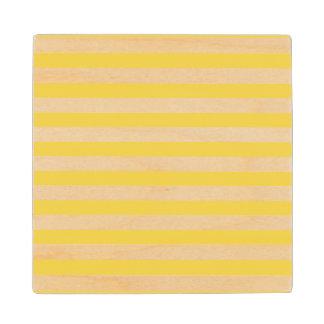 Yellow and White Stripe Pattern Wood Coaster
