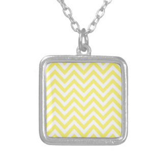 Yellow and White Stripe Zigzag Pattern Square Pendant Necklace