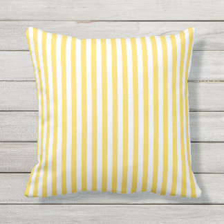 Yellow and White Stripes Pattern Outdoor Cushion