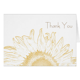 Yellow and White Sunflower Graphic Thank You Card