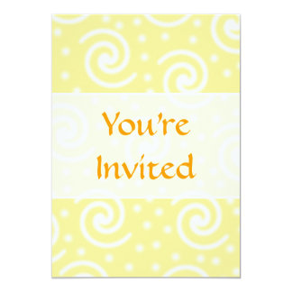 Yellow and White Swirls and Dots. 13 Cm X 18 Cm Invitation Card