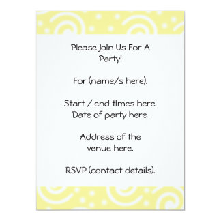 Yellow and White Swirls and Dots. 17 Cm X 22 Cm Invitation Card