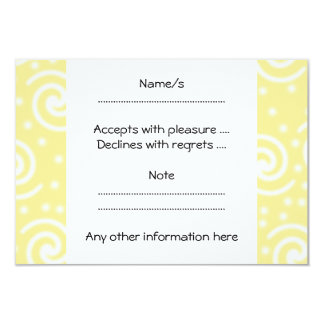 Yellow and White Swirls and Dots. 9 Cm X 13 Cm Invitation Card