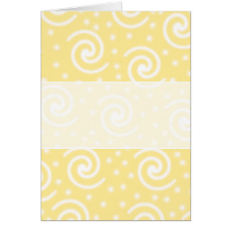 Yellow and White Swirls and Dots. Greeting Card