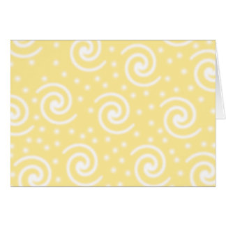 Yellow and White Swirls and Dots. Note Card