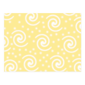 Yellow and White Swirls and Dots. Postcard