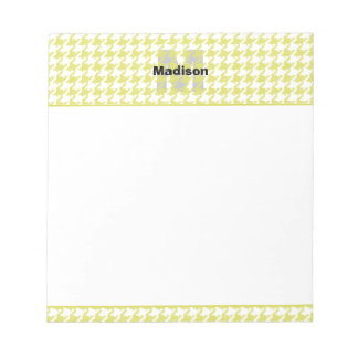 Yellow and White Textured Houndstooth Pattern Notepads