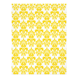 Yellow and White Vintage Damask Pattern 2 21.5 Cm X 28 Cm Flyer