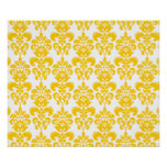 Yellow and White Vintage Damask Pattern 2 Poster