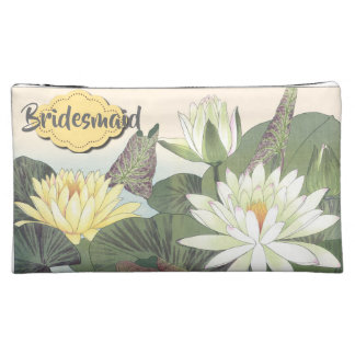 Yellow and White Water Lilies Makeup Bag