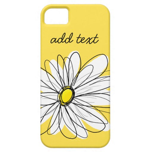 Yellow and White Whimsical Daisy with Custom Text iPhone 5/5S Covers