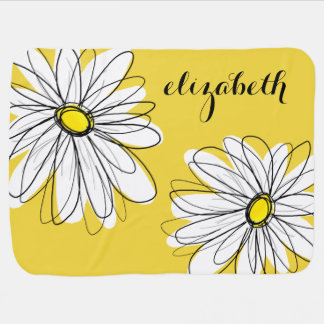 Yellow and White Whimsical Daisy with Custom Text Swaddle Blankets
