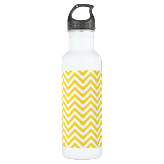 Yellow and White Zigzag Stripes Chevron Pattern 710 Ml Water Bottle