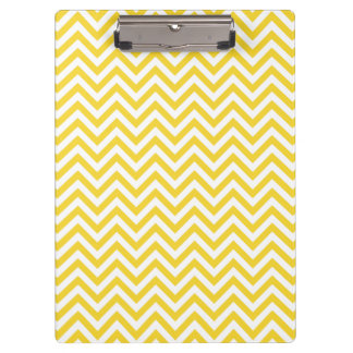 Yellow and White Zigzag Stripes Chevron Pattern Clipboard