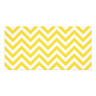 Yellow and White Zigzag Stripes Chevron Pattern Customised Photo Card