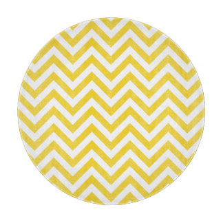 Yellow and White Zigzag Stripes Chevron Pattern Cutting Board