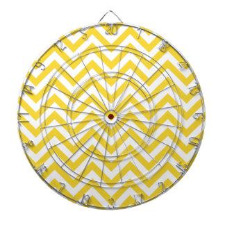 Yellow and White Zigzag Stripes Chevron Pattern Dartboards