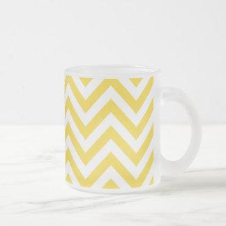 Yellow and White Zigzag Stripes Chevron Pattern Frosted Glass Coffee Mug