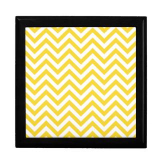 Yellow and White Zigzag Stripes Chevron Pattern Gift Box