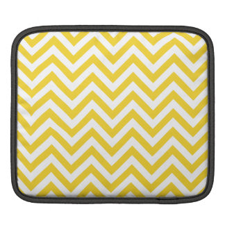 Yellow and White Zigzag Stripes Chevron Pattern iPad Sleeve