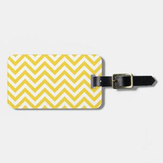 Yellow and White Zigzag Stripes Chevron Pattern Luggage Tag