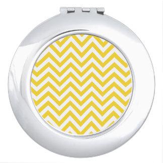 Yellow and White Zigzag Stripes Chevron Pattern Makeup Mirror