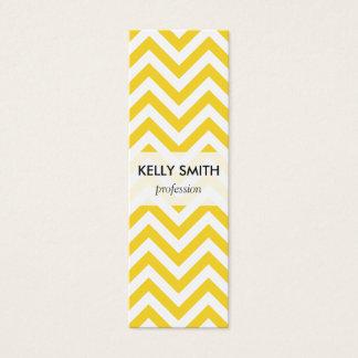 Yellow and White Zigzag Stripes Chevron Pattern Mini Business Card