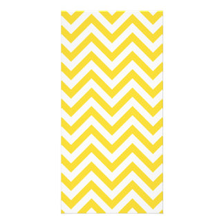 Yellow and White Zigzag Stripes Chevron Pattern Photo Cards