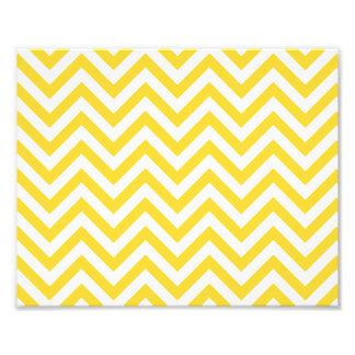 Yellow and White Zigzag Stripes Chevron Pattern Photo Print