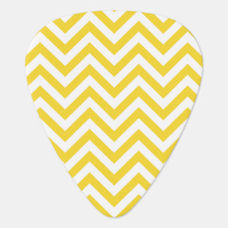 Yellow and White Zigzag Stripes Chevron Pattern Plectrum