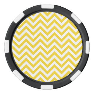 Yellow and White Zigzag Stripes Chevron Pattern Poker Chips