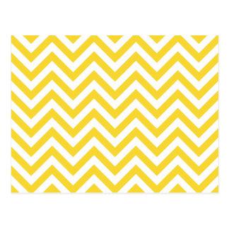 Yellow and White Zigzag Stripes Chevron Pattern Postcard