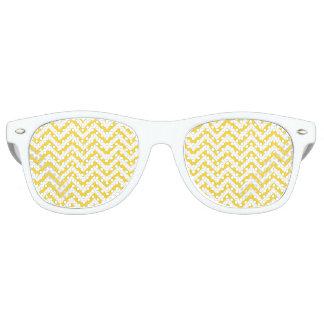 Yellow and White Zigzag Stripes Chevron Pattern Retro Sunglasses
