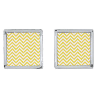 Yellow and White Zigzag Stripes Chevron Pattern Silver Finish Cufflinks