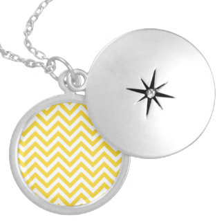 Yellow and White Zigzag Stripes Chevron Pattern Silver Plated Necklace