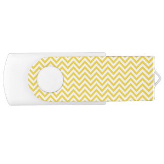 Yellow and White Zigzag Stripes Chevron Pattern USB Flash Drive