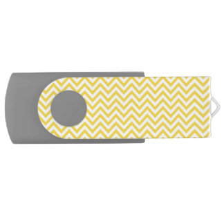 Yellow and White Zigzag Stripes Chevron Pattern USB Flash Drive