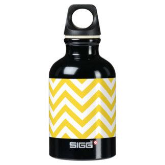 Yellow and White Zigzag Stripes Chevron Pattern Water Bottle