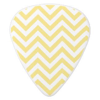 Yellow and White Zigzag Stripes Chevron Pattern White Delrin Guitar Pick