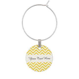 Yellow and White Zigzag Stripes Chevron Pattern Wine Charm