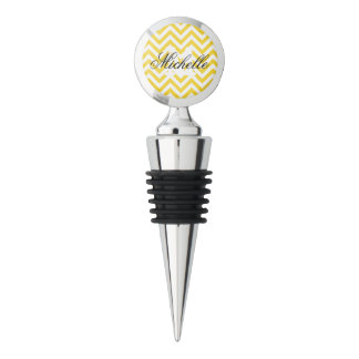 Yellow and White Zigzag Stripes Chevron Pattern Wine Stopper