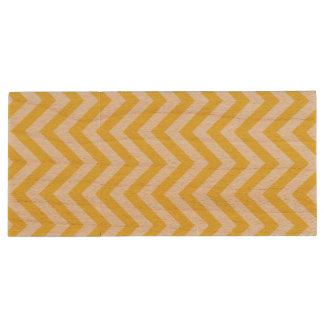 Yellow and White Zigzag Stripes Chevron Pattern Wood USB Flash Drive