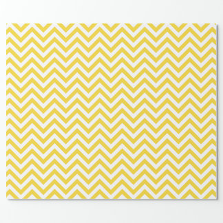 Yellow and White Zigzag Stripes Chevron Pattern Wrapping Paper