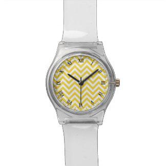 Yellow and White Zigzag Stripes Chevron Pattern Wristwatch