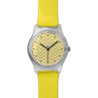 Yellow and White Zigzag Stripes Chevron Pattern Wristwatches