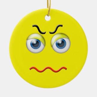 Yellow  Angry Emoji Custom Name Ceramic Ornament