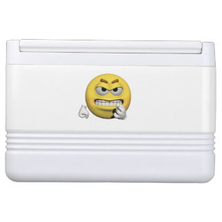Yellow angry emoticon or smiley cooler