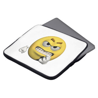 Yellow angry emoticon or smiley laptop sleeve